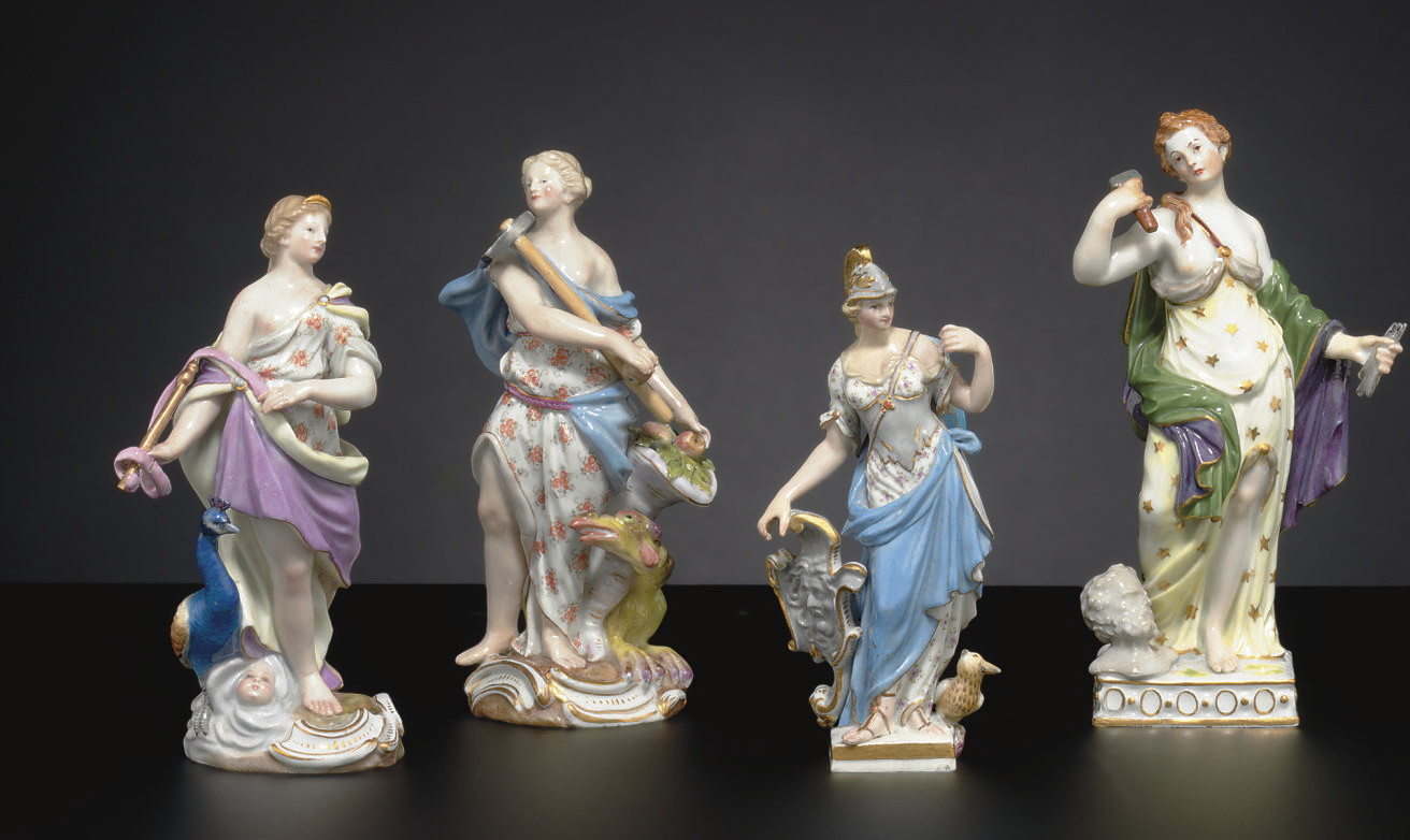 THREE MEISSEN FIGURES OF GODDE