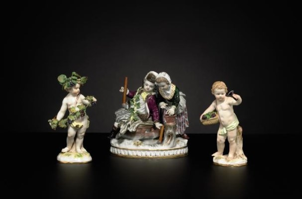 TWO MEISSEN FIGURES AND A MEIS