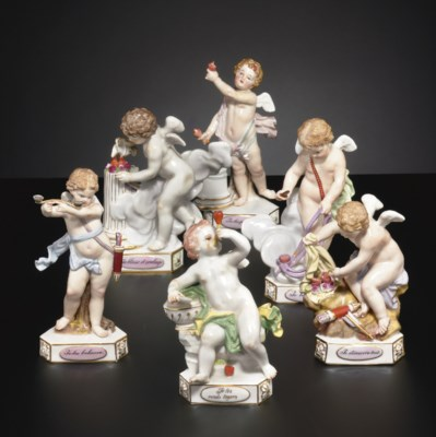SIX MEISSEN MODELS OF DEVISENK