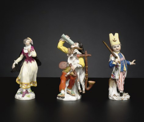 THREE MEISSEN FIGURES