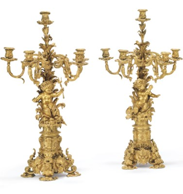 A PAIR OF FRENCH ORMOLU FIVE-L