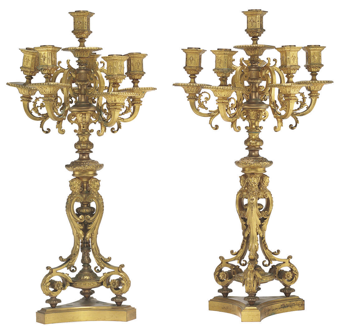 A PAIR OF FRENCH ORMOLU SIX-LI