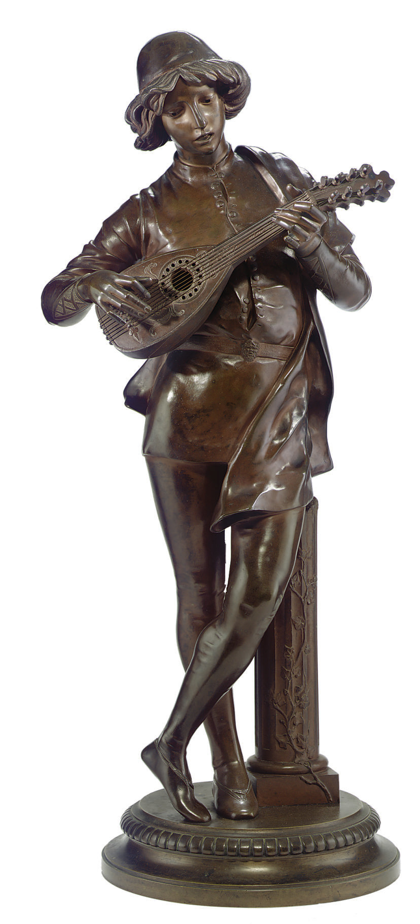 A FRENCH BRONZE FIGURE OF A LUTE PLAYER