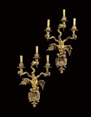 TWO FRENCH ORMOLU THREE-LIGHT