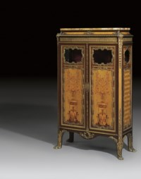 A FRENCH ORMOLU-MOUNTED MAHOGANY, AMARANTH, SYCAMORE, MARQUETRY AND PARQUETRY SIDE-CABINET