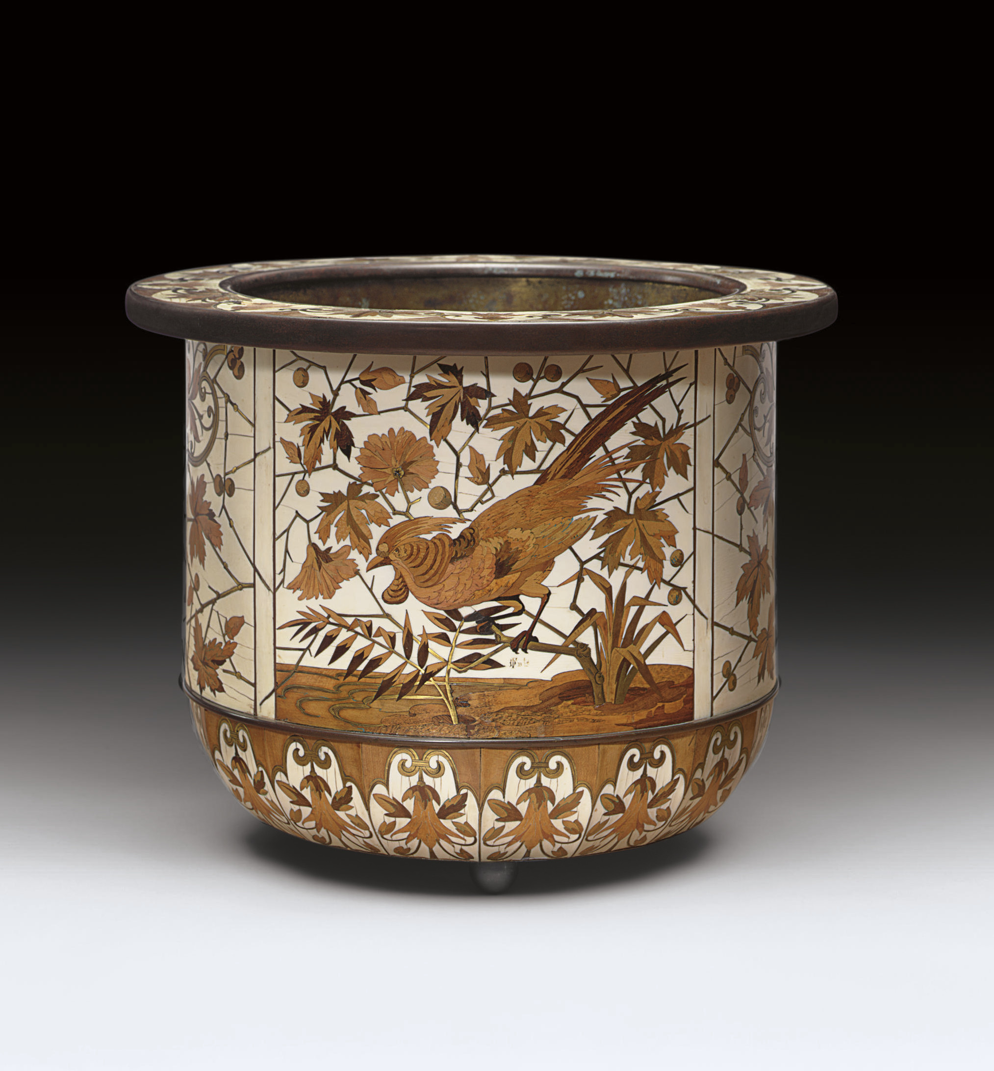 A FRENCH BRONZE-MOUNTED IVORY, BRASS AND STAINED FRUITWOOD MARQUETRY CACHEPOT**