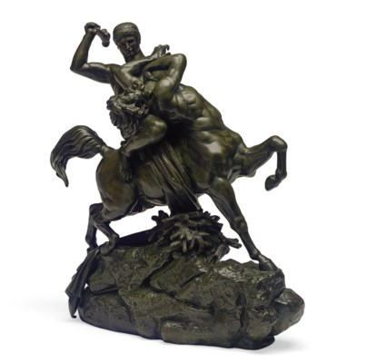 A FRENCH BRONZE FIGURAL GROUP
