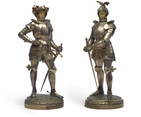 TWO FRENCH SILVERED BRONZE AND
