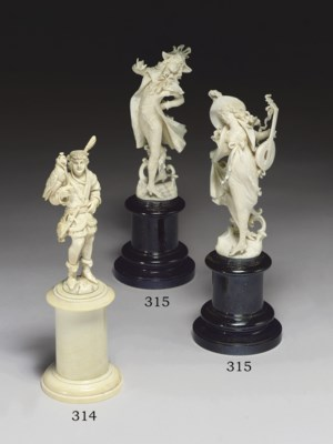 A CONTINENTAL IVORY FIGURE OF