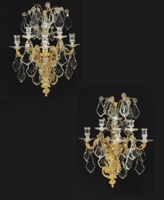 A PAIR OF ORMOLU AND CUT-GLASS
