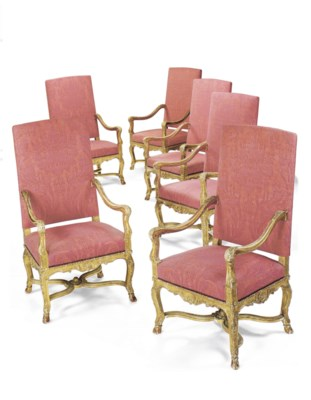 A SET OF SIX FRENCH GILTWOOD F