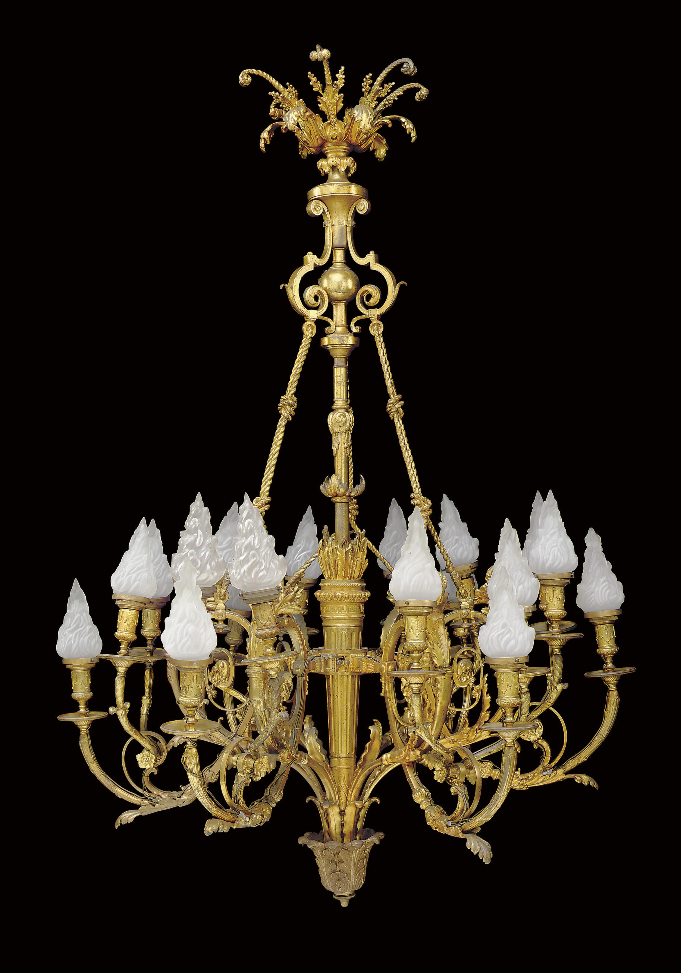 A FRENCH ORMOLU EIGHTEEN-LIGHT
