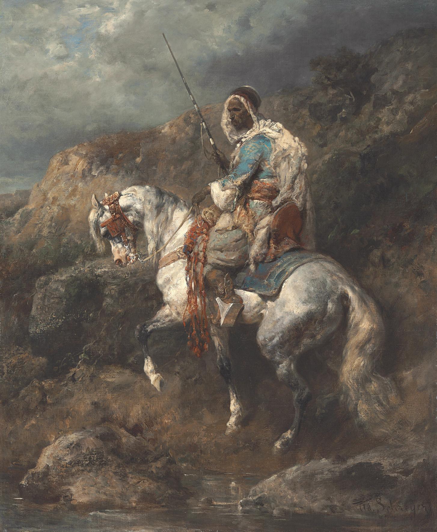Arabischer Reiter an einter Tränke