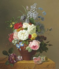 Roses, Poppies, Cornflowers, Convulvulus, Jasmine, Fritilleries, a Primula, a Peony, and Lilac in a terracotta Vase with a Sprig of Roses and other Flowers on a Stone Ledge