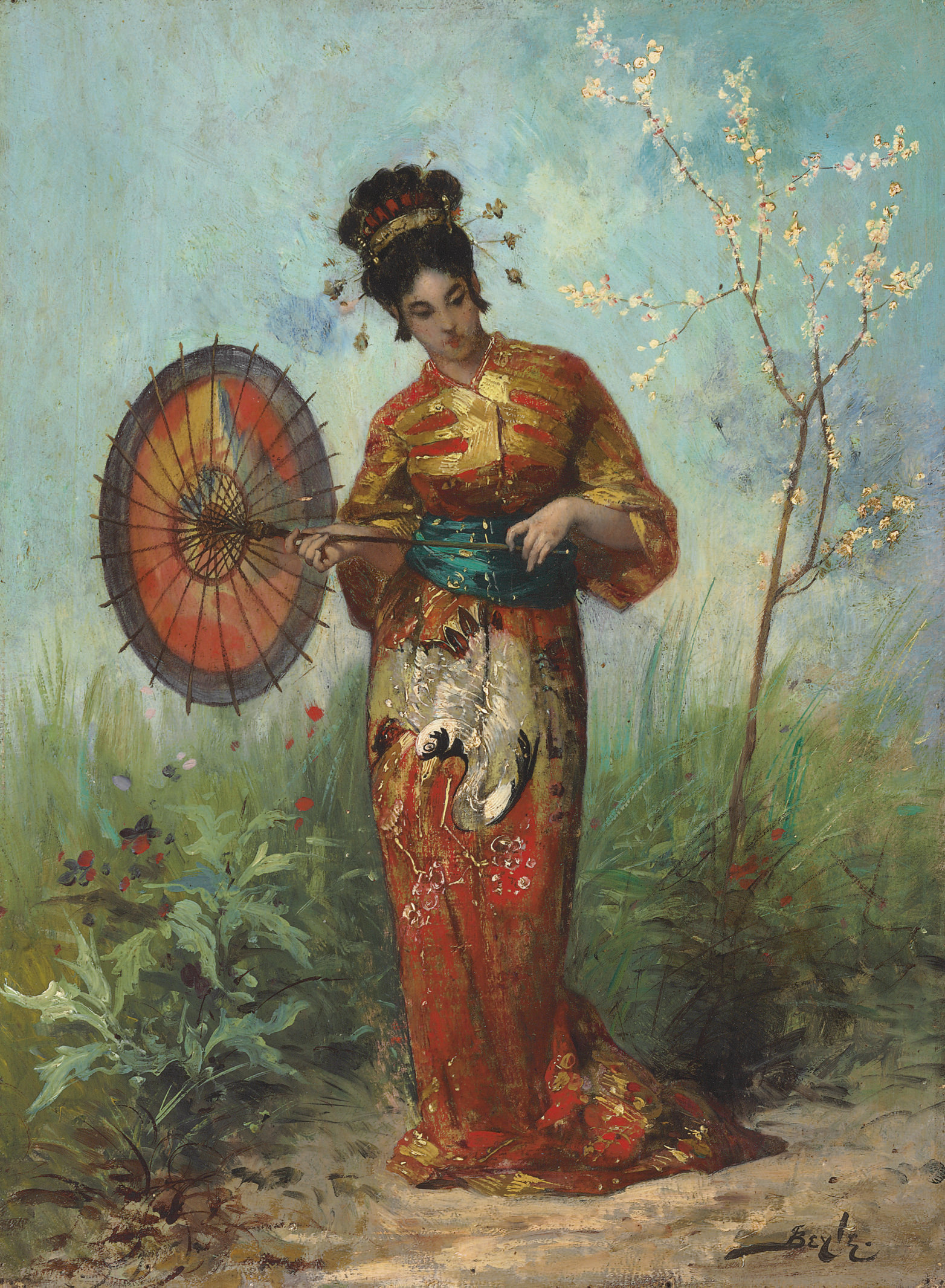 A Japanese Woman with a Parasol