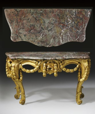 A LATE LOUIS XV GILTWOOD CONSO