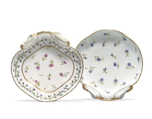 TWO SEVRES SHELL-SHAPED DISHES