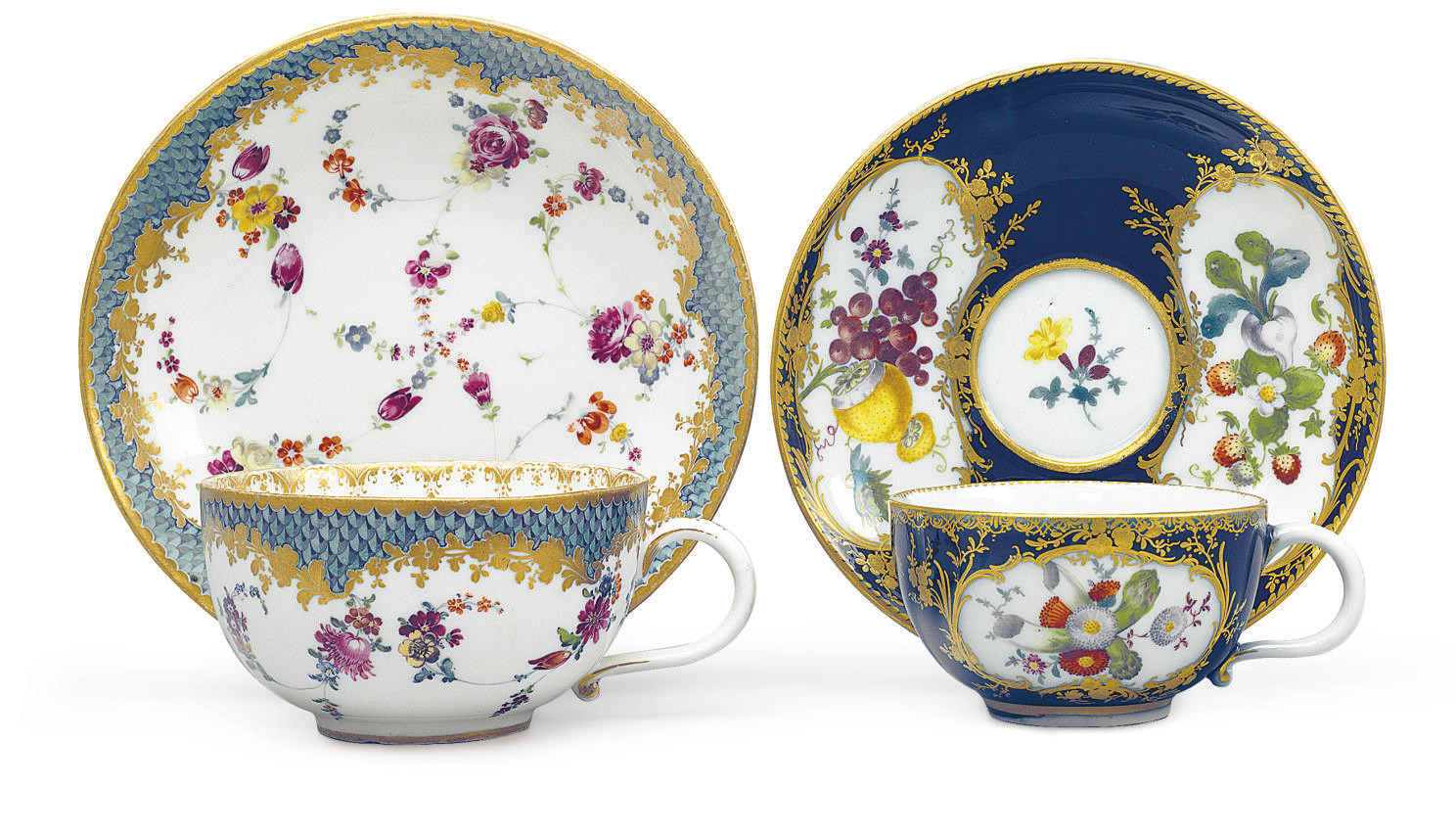 TWO MEISSEN TEACUPS AND SAUCER