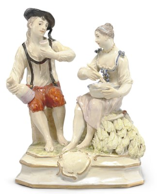 A LUDWIGSBURG FIGURE GROUP OF