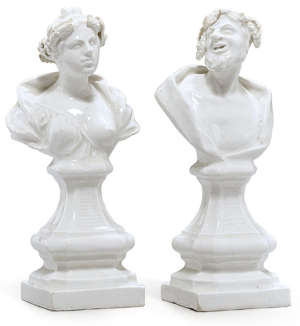 A PAIR OF BOW WHITE BUSTS EMBL