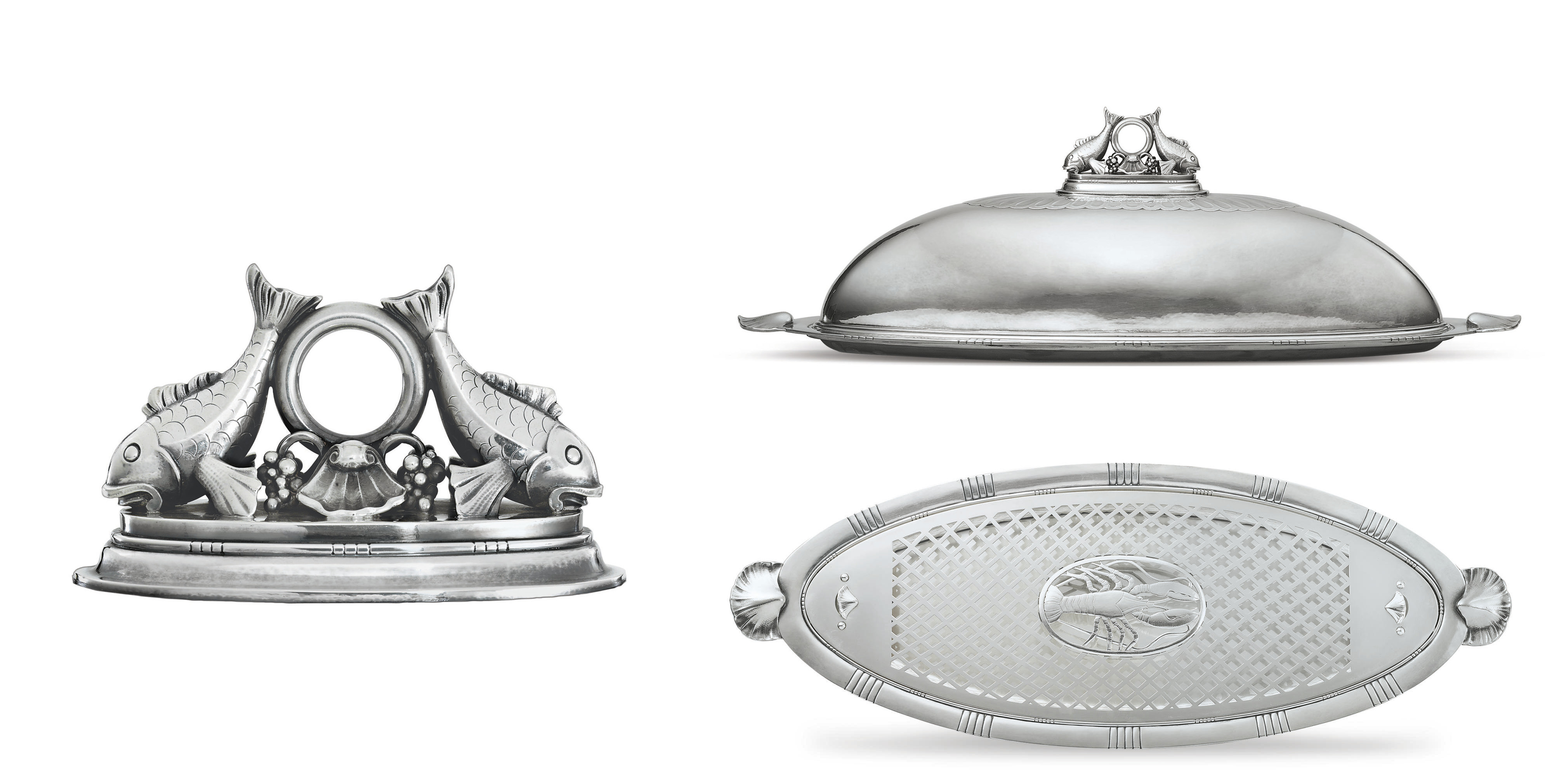 A FINE DANISH SILVER FISH PLATTER, COVER AND MAZARINE DESIGNED BY JOHAN ROHDE