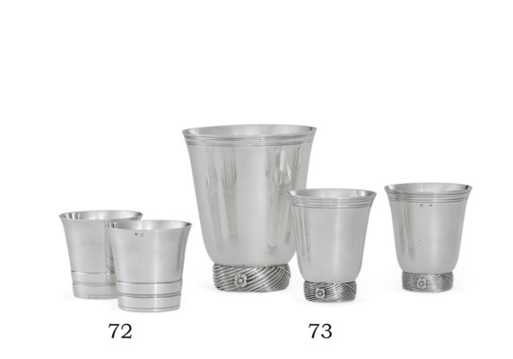 THREE FRENCH SILVER BEAKERS AN