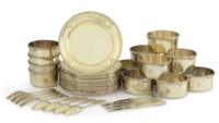 A FRENCH SILVER AND SILVER-GILT DESSERT SERVICE
