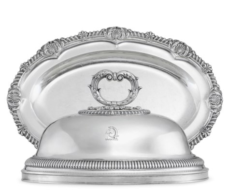 A GEORGE IV SILVER MEAT DISH A