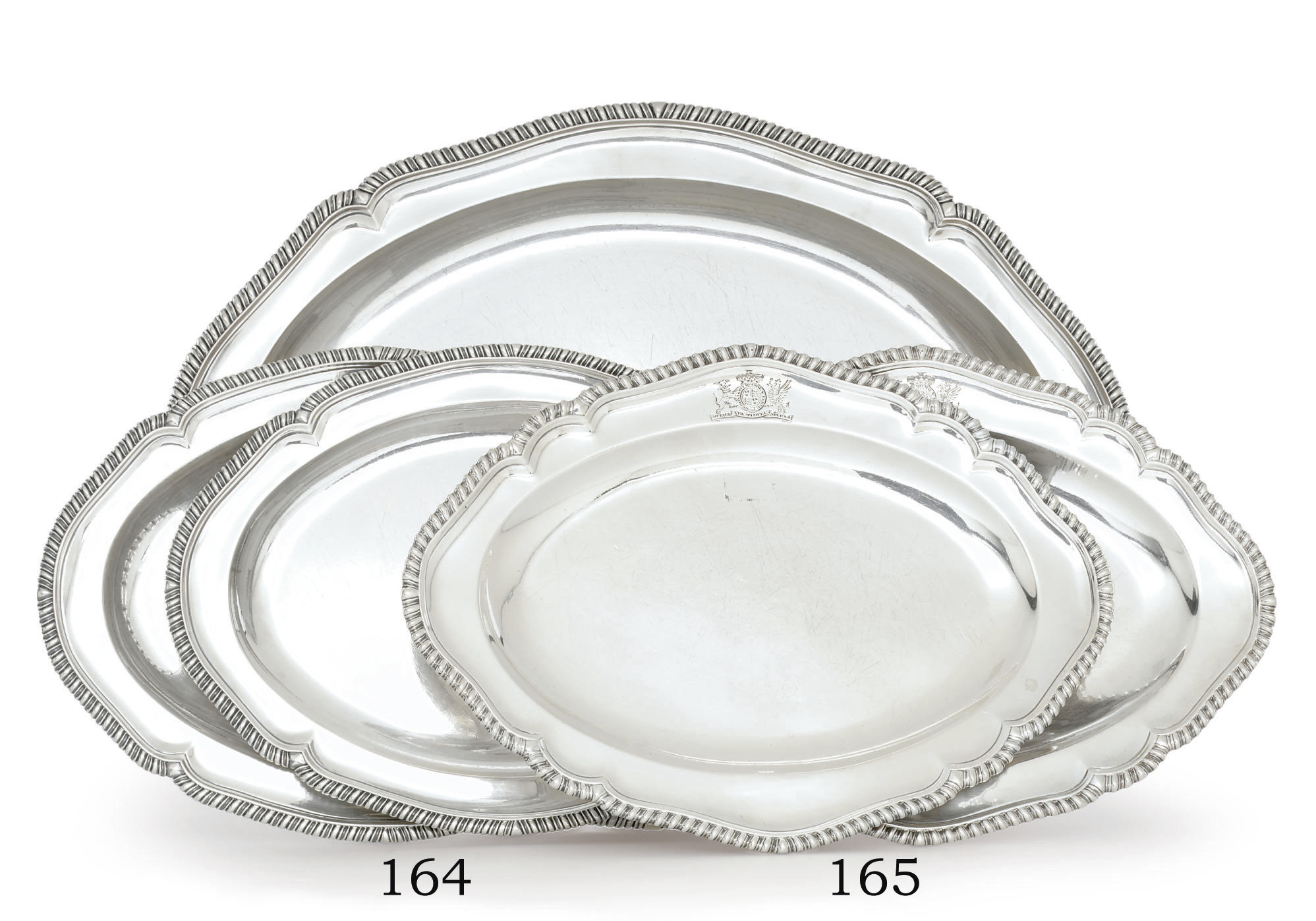 A SET OF THREE GEORGE III SILVER MEAT DISHES
