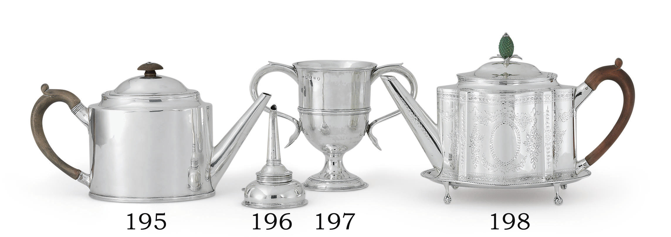 A GEORGE III SILVER WINE FUNNEL