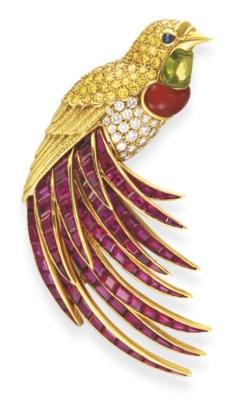 A MULTI-GEM 'BIRD OF PARADISE'