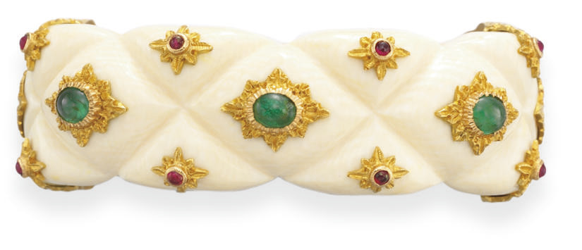 **AN IVORY, MULTI-GEM AND GOLD