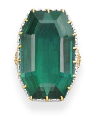 A GREEN TOURMALINE, DIAMOND AN