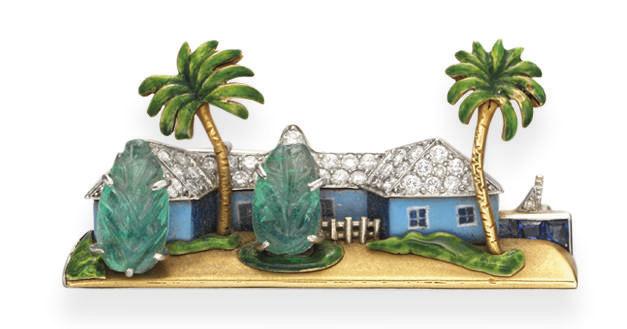 AN ENAMEL AND MULTI-GEM HOUSE