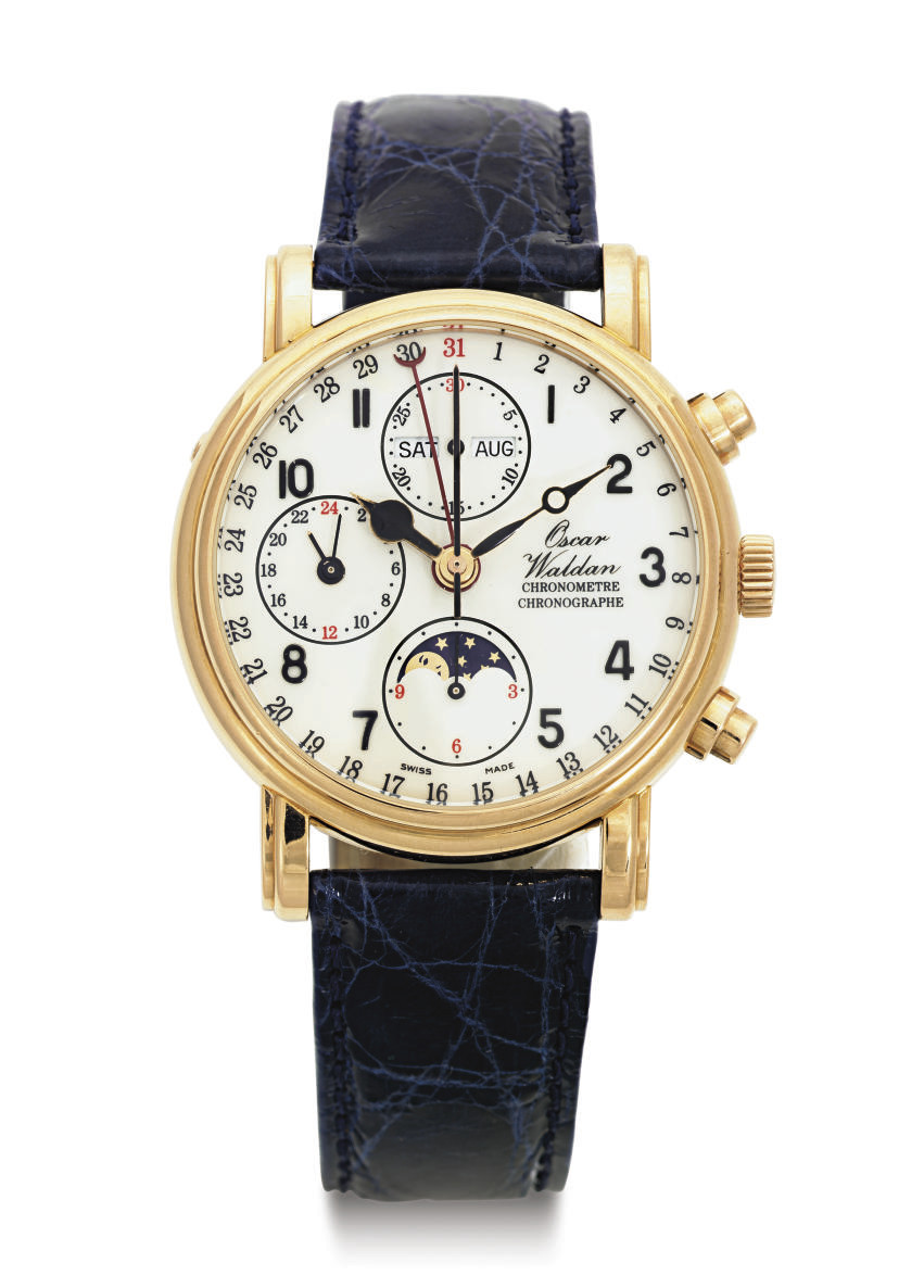 OSCAR WALDAN. AN 18K PINK GOLD AUTOMATIC TRIPLE CALENDAR CHRONOGRAPH WRISTWATCH WITH MOON PHASES