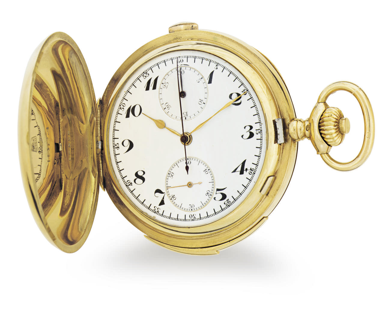 HENRI PARENT.  AN 18K GOLD MINUTE REPEATING CHRONOGRAPH HUNTER CASE KEYLESS LEVER POCKET WATCH