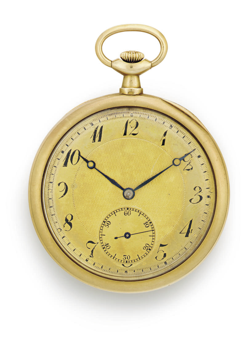 POITEVIN AND LEJEUNE.  AN 18K GOLD OPENFACE KEYLESS LEVER DRESS WATCH