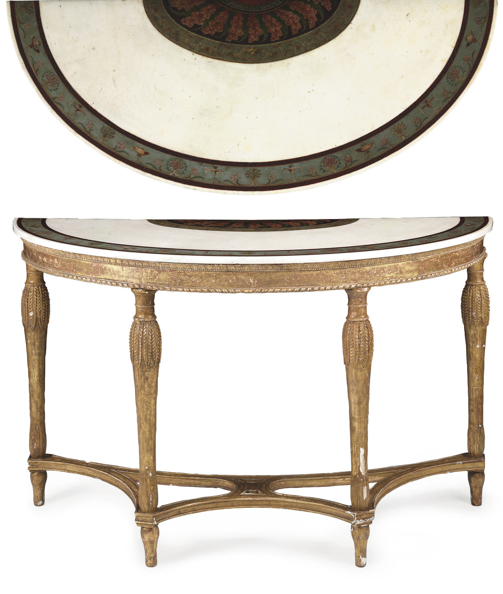 A GEORGE III GILTWOOD, GILT-COMPOSITION AND POLYCHROME-PAINTED MARBLE SIDE TABLE