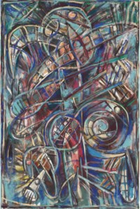 Figura azul (alegoría de San Sebastián flechado)
