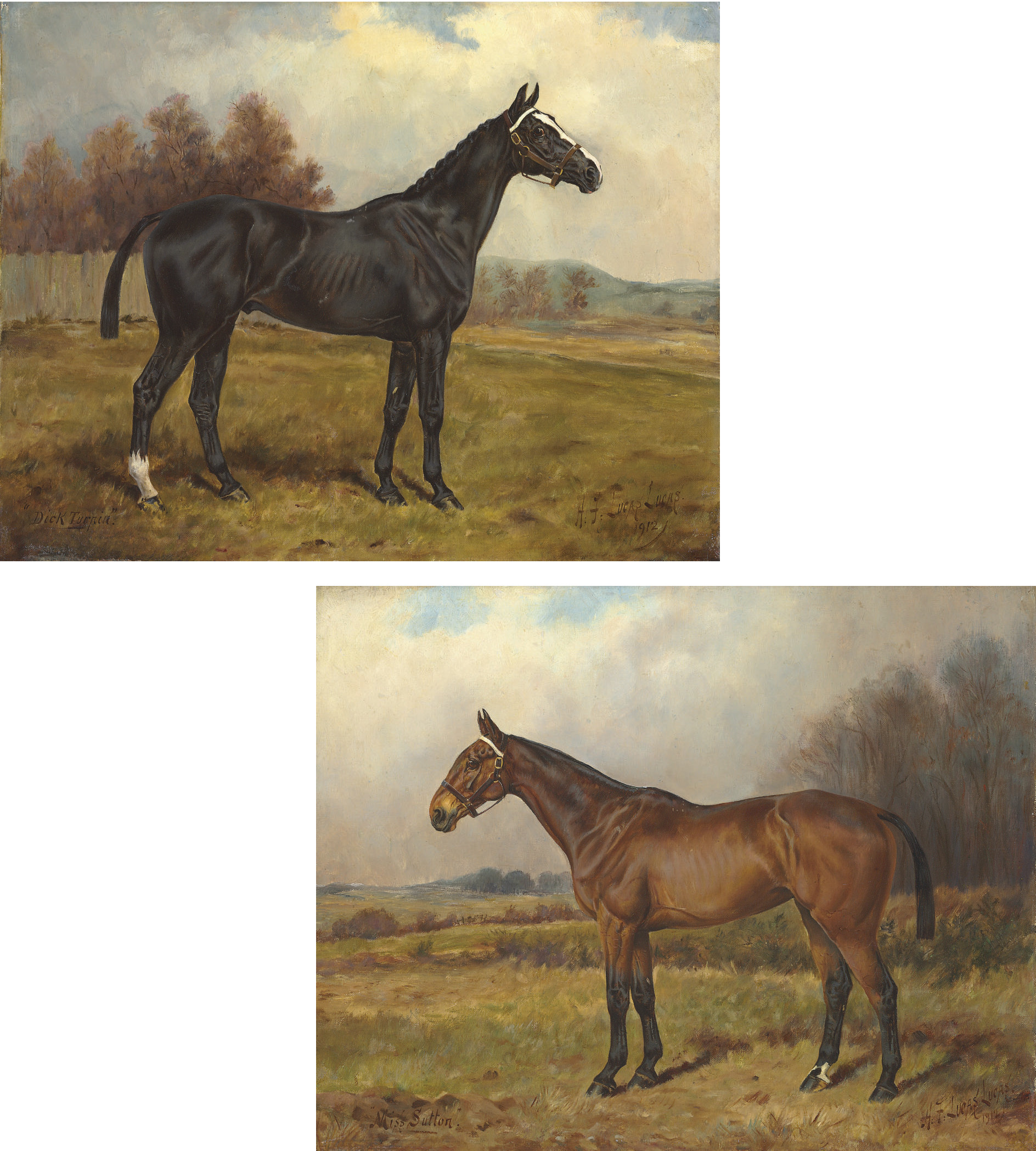 Dick Turpin; and Miss Sutton: Hunters in autumn landscapes