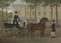 A hackney carriage with driver and groom