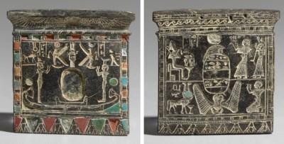 AN EGYPTIAN INLAID STEATITE PE