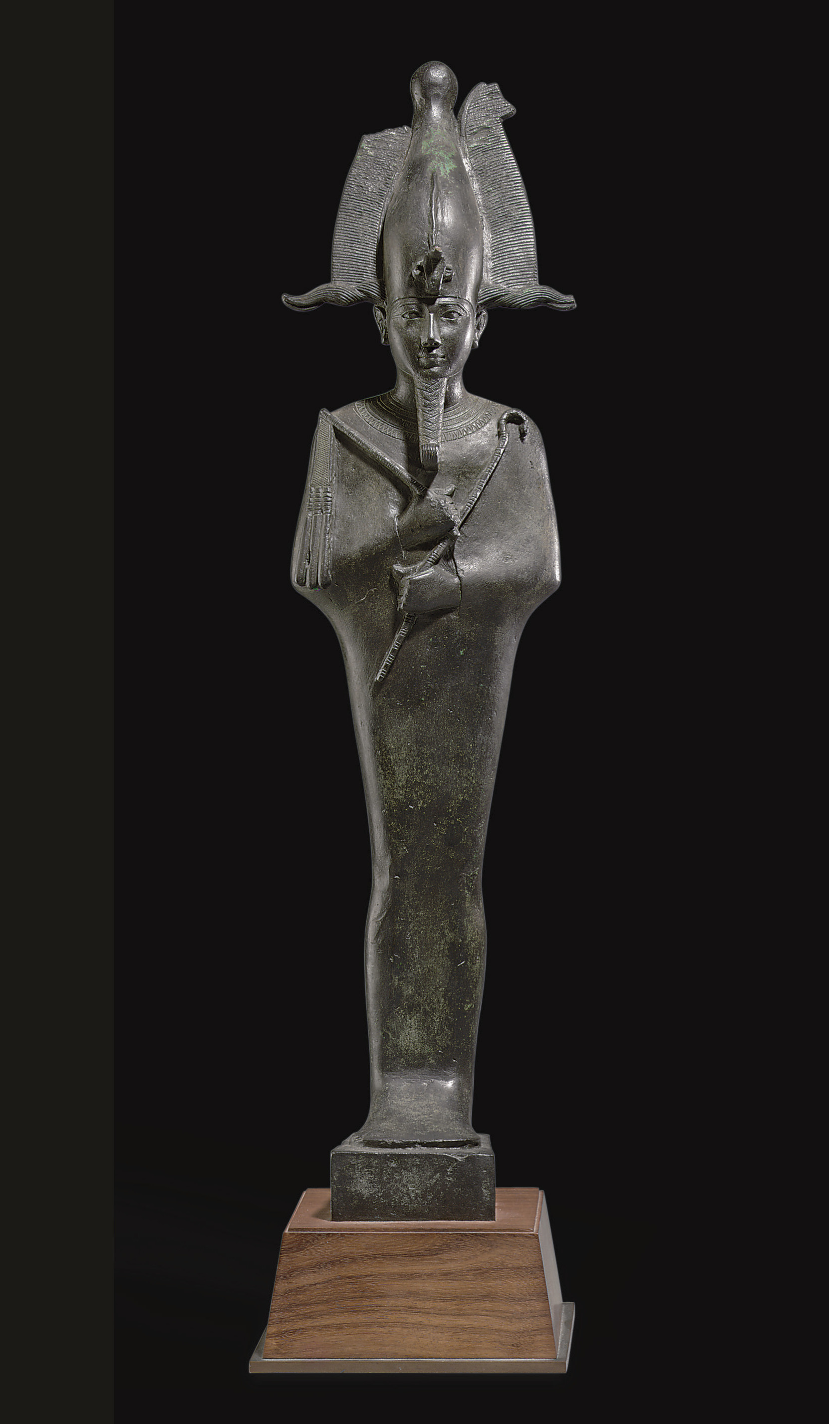A LARGE EGYPTIAN BRONZE OSIRIS