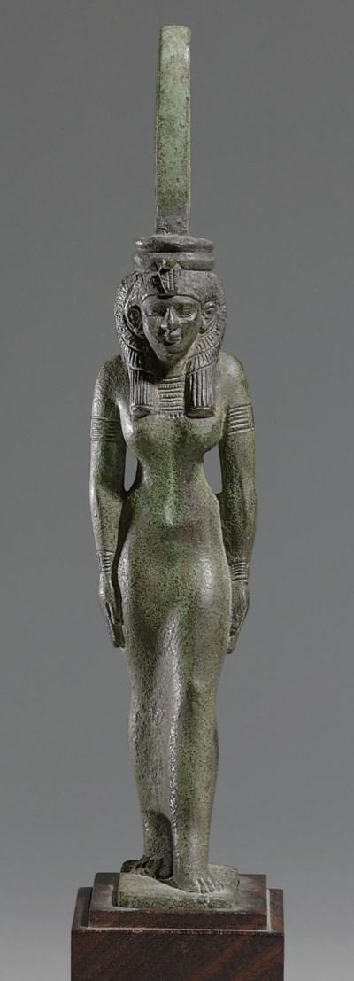 AN EGYPTIAN BRONZE MAAT