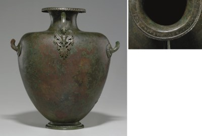A GREEK BRONZE HYDRIA