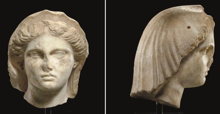 A GREEK MARBLE VEILED FEMALE H
