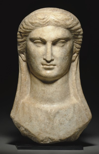 A GREEK MARBLE VEILED BUST OF