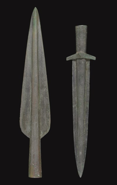 TWO ITALIC BRONZE SPEAR HEADS