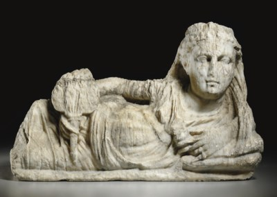 AN ETRUSCAN ALABASTER CINERARY