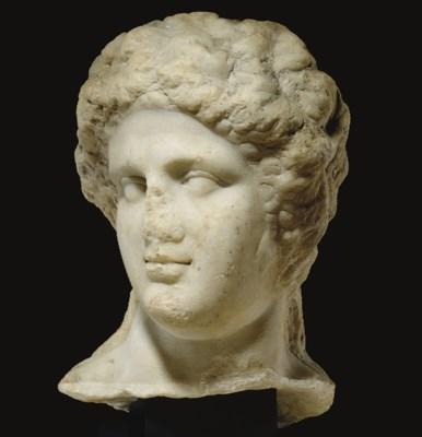 A ROMAN MARBLE HEAD OF BACCHUS